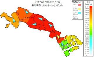 光化学オキシダント濃度(2017/07/08)