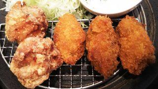 唐揚げ牡蠣定食(大)アップ|とり多津 鹿島田店