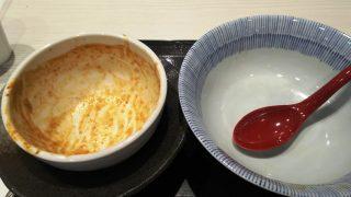 伊勢海老つけ麺を食べ終えた後|鯛塩そば灯花 ラゾーナ川崎店