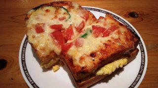 たっぷり玉子のピザトースト断面|コメダ珈琲下丸子店