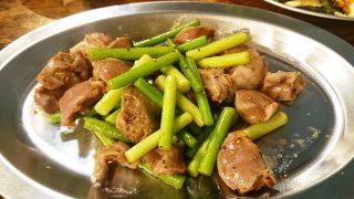 砂肝とニンニクのめ炒め|casual dining bar SHELTER