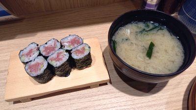 細巻きとお味噌汁|板前が握る寿司 ななつぼ 鹿島田店