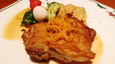 チキンソテー・オレンジソース(アップ) ブラッスリーほっぺ