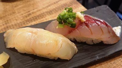 宇和島のお魚で握り寿司2貫|越乃商店 鹿島田店